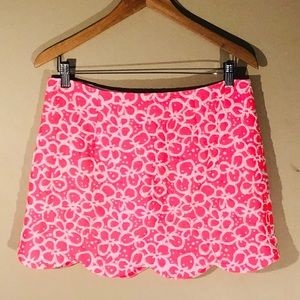 LILLY PULITZER Bright Pink Scalloped Mini-Skirt -4